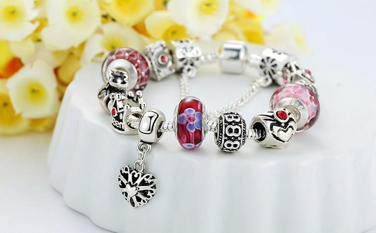 | Queen Crown & Flower Beads Charms Bracelet |