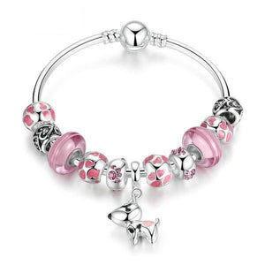 | Lovely Dog & Pink Glass Beads Charm Bracelet | 19cm