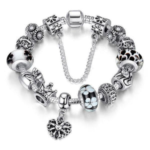 | Queen Crown & Flower Beads Charms Bracelet | Black / 18cm