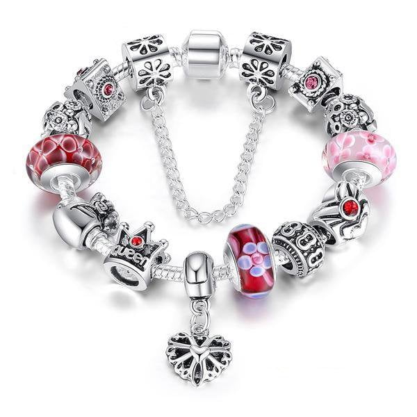 | Queen Crown & Flower Beads Charms Bracelet | Red / 18cm