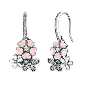 | Pink Cherry Blossom & Daisy Flower Drop Earrings |