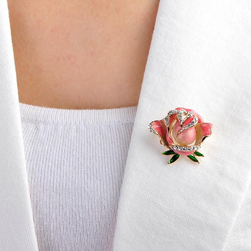 | Pink Rose Flower Brooches Pin |