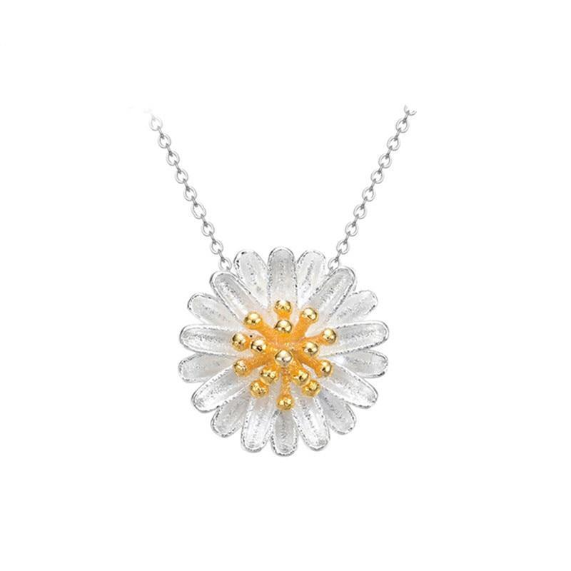 | Daisy Flower Necklace | White