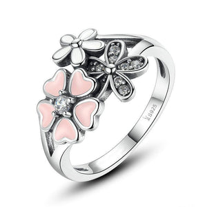 | Pink Cherry Blossom & Daisy Flower Ring | 9