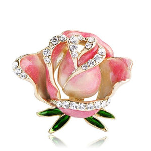 | Pink Rose Flower Brooches Pin | Default Title