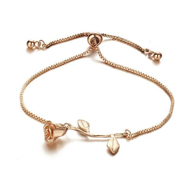 | Rose Flower Bracelet | Rose Gold