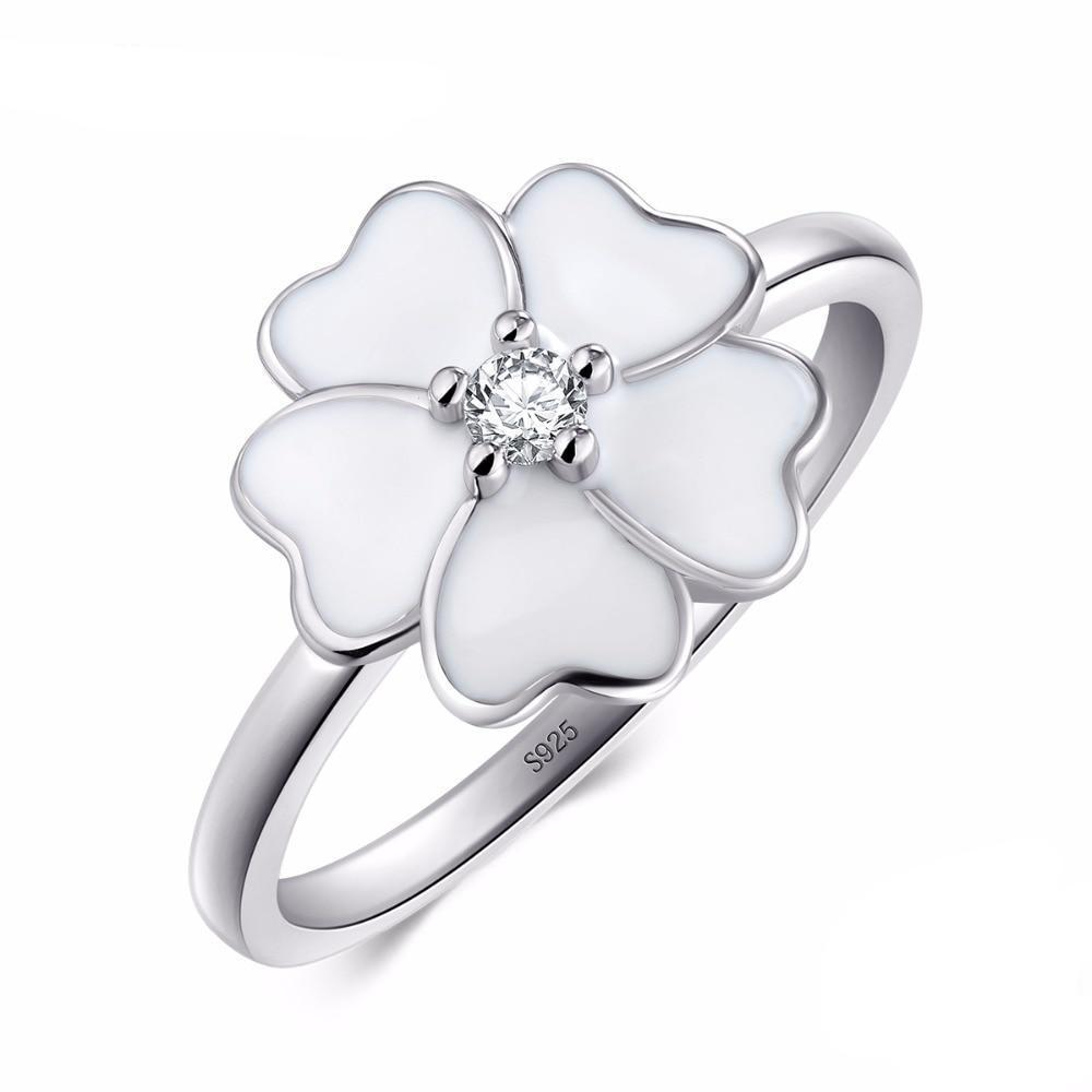 | White Primrose Enamel Ring | 9