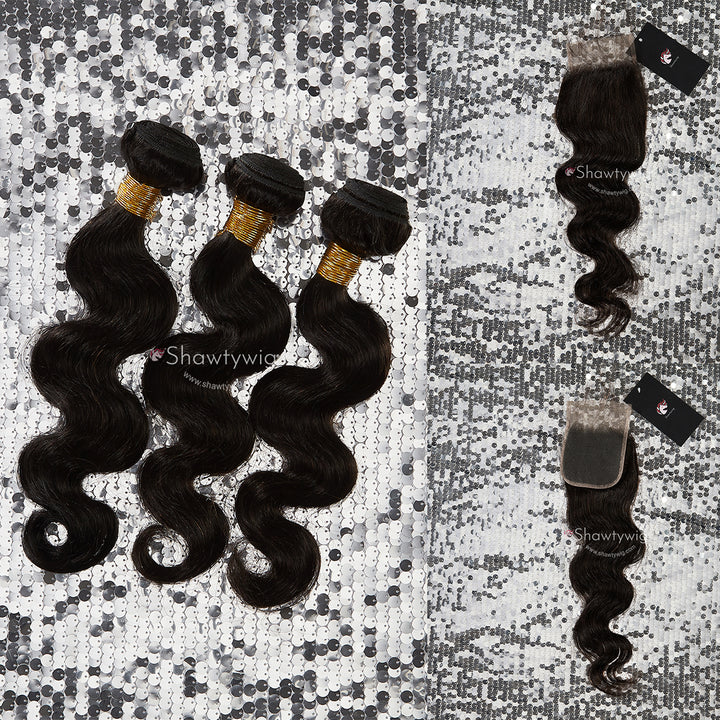 3 Body Wave Hair Bundles With Lace Closure