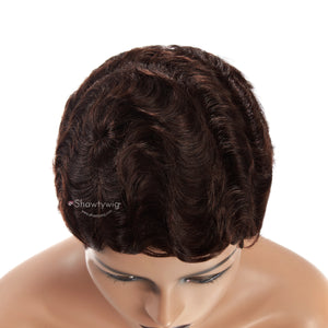 8'' Finger Wave Human Hair Wigs
