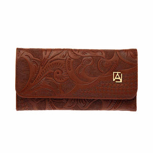 Embossed Trifold leather wallet #101
