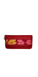 Zipped wallet with floral embroidery