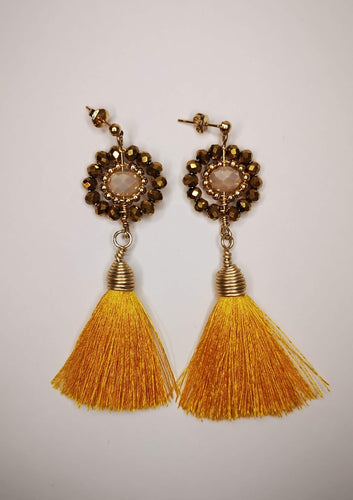 Earrings with Crystals Yellow