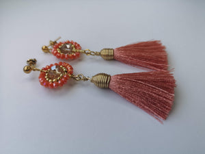 Earrings with Crystals Coral