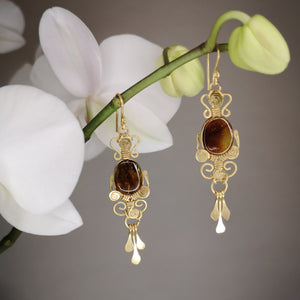 Amber filigree earrings mod 2