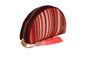 Makeup bag in synthetic leather with artisan loom
