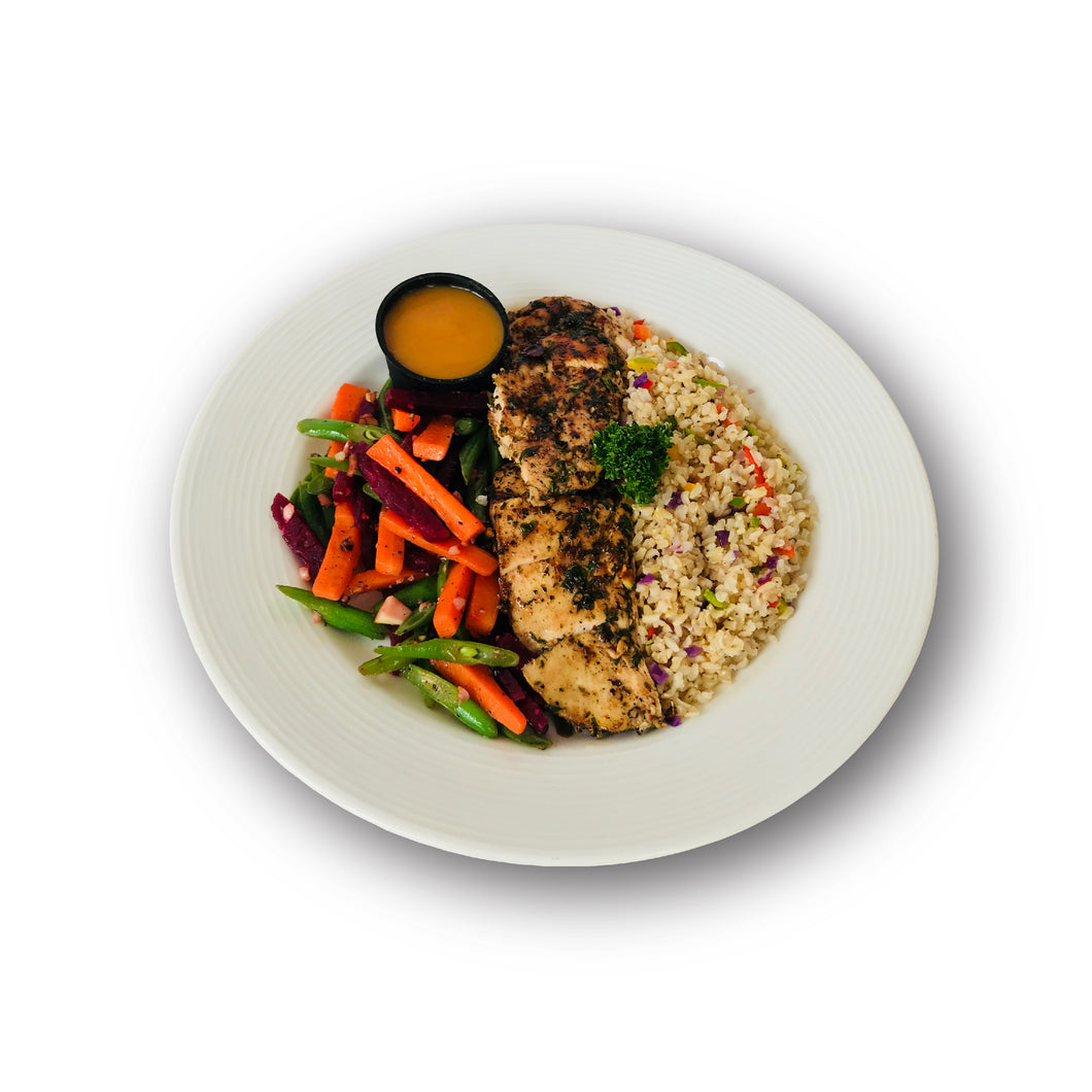 CILANTRO  CITRUS  CHICKEN  STEAK  WITH  ROASTED  CARROT  SAUCE