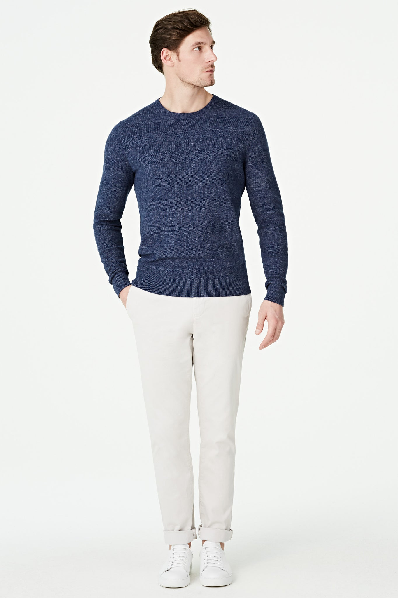 Blue Melee Crew Neck Sweater