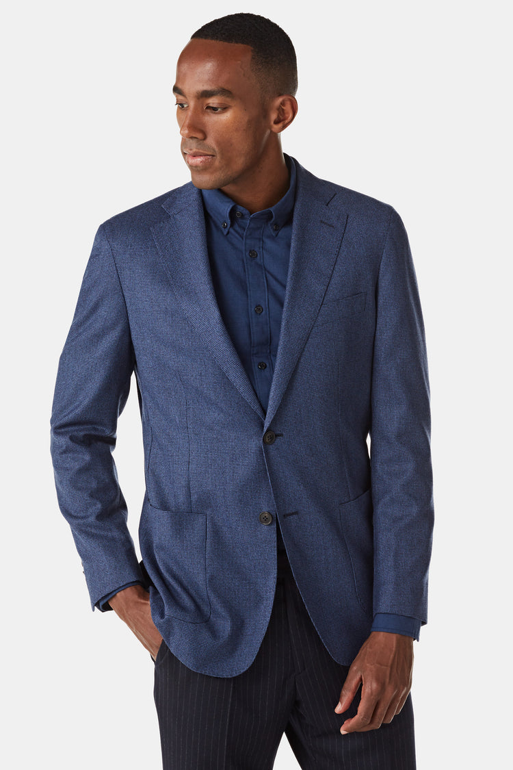 Regular fit blazer van wol met ruitprint