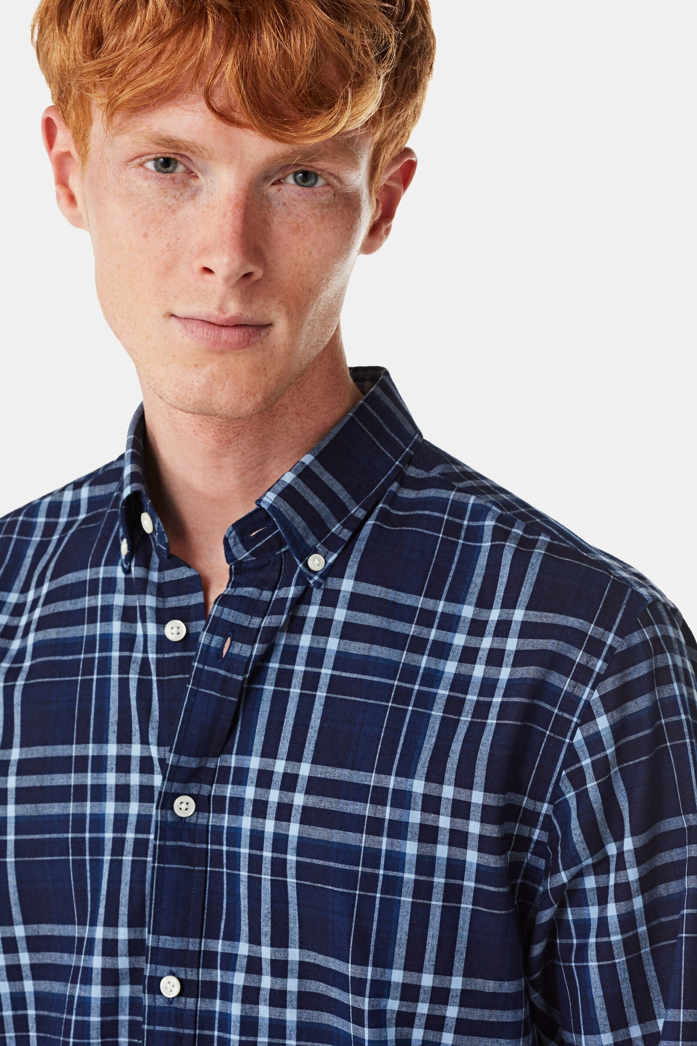 Regular fit overhemd met indigo ruitprint