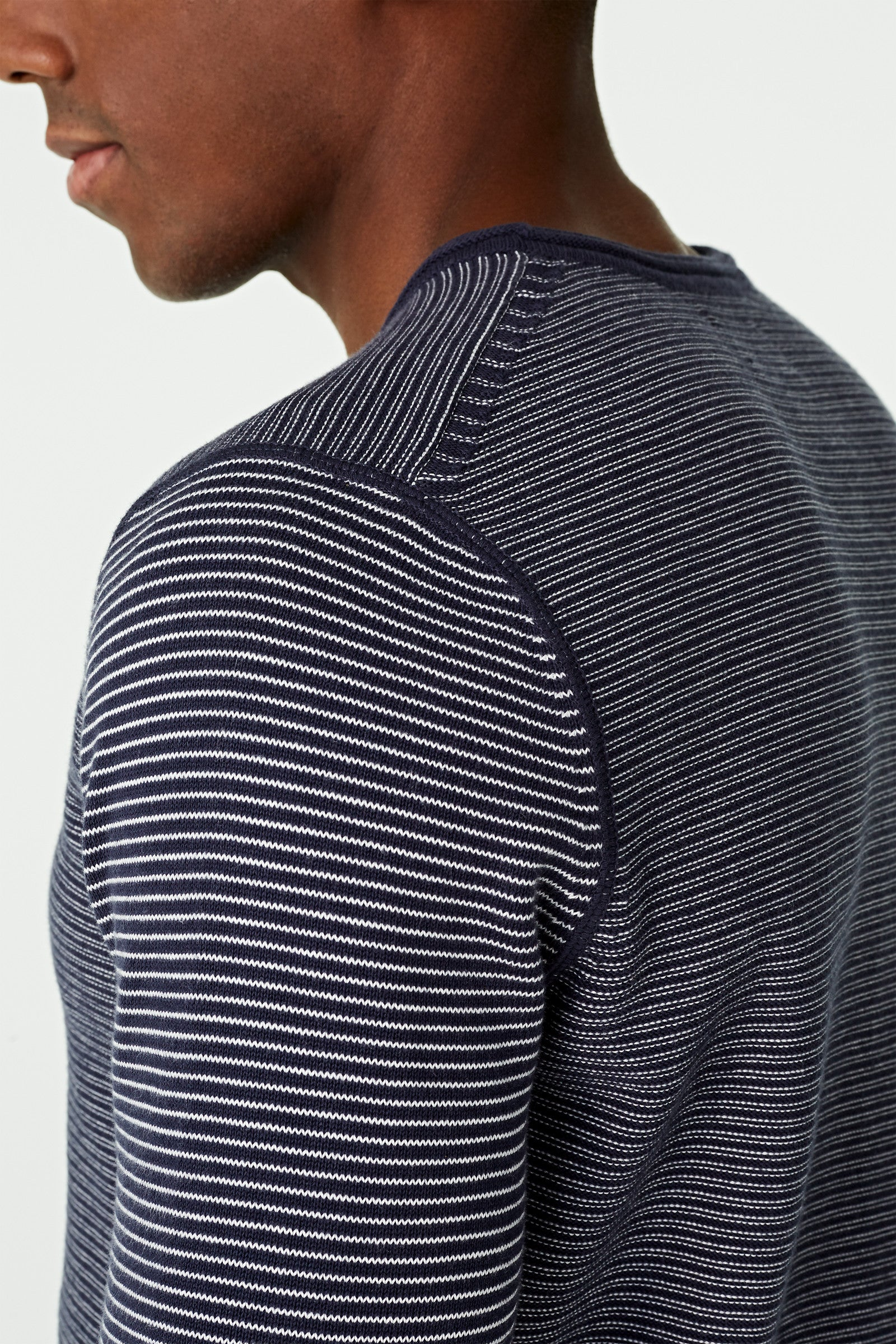 Links Stripe Crew Neck Sweater