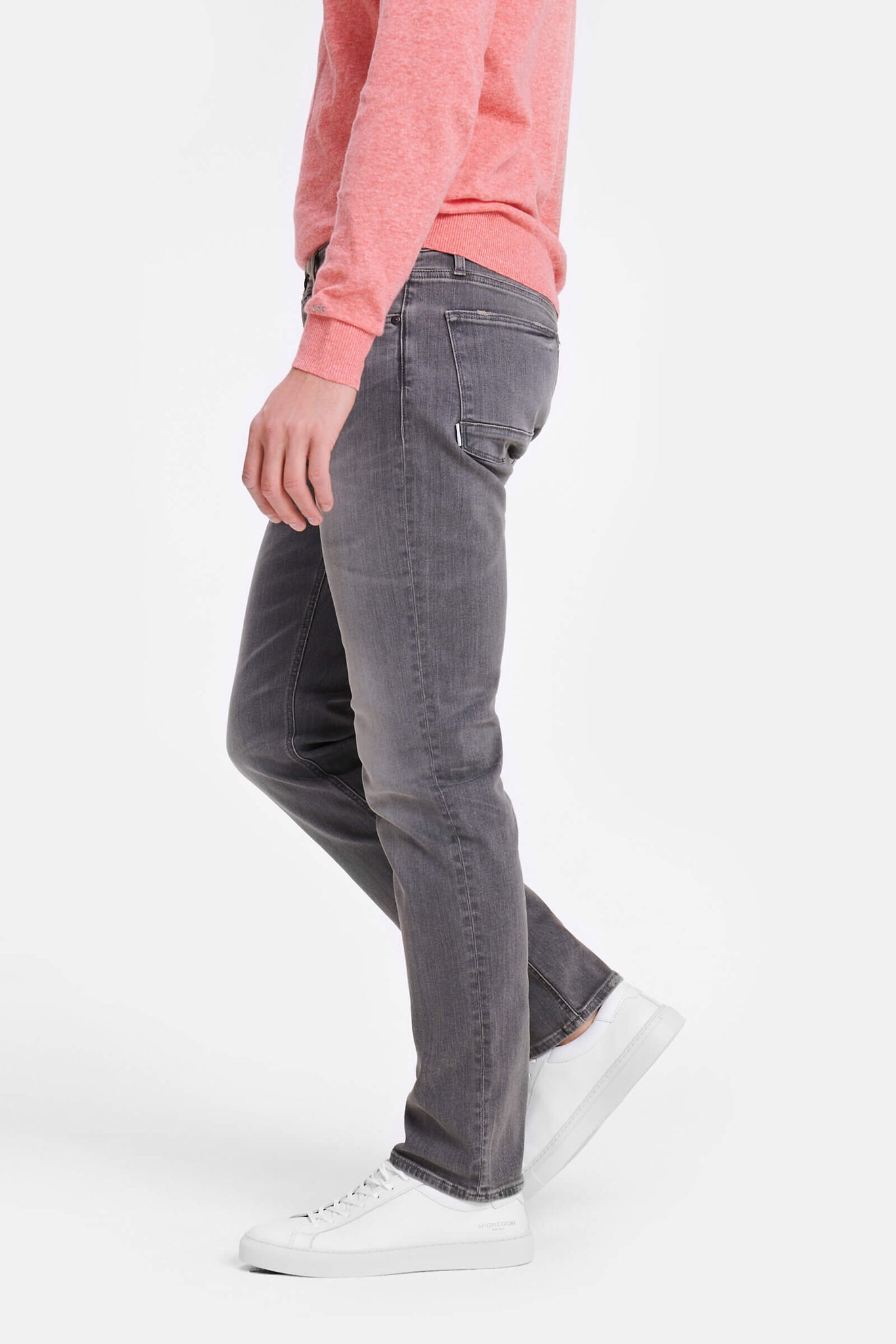 Regular fit jeans in medium grijze wassing