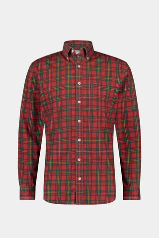 Regular fit corduroy overhemd met tartan