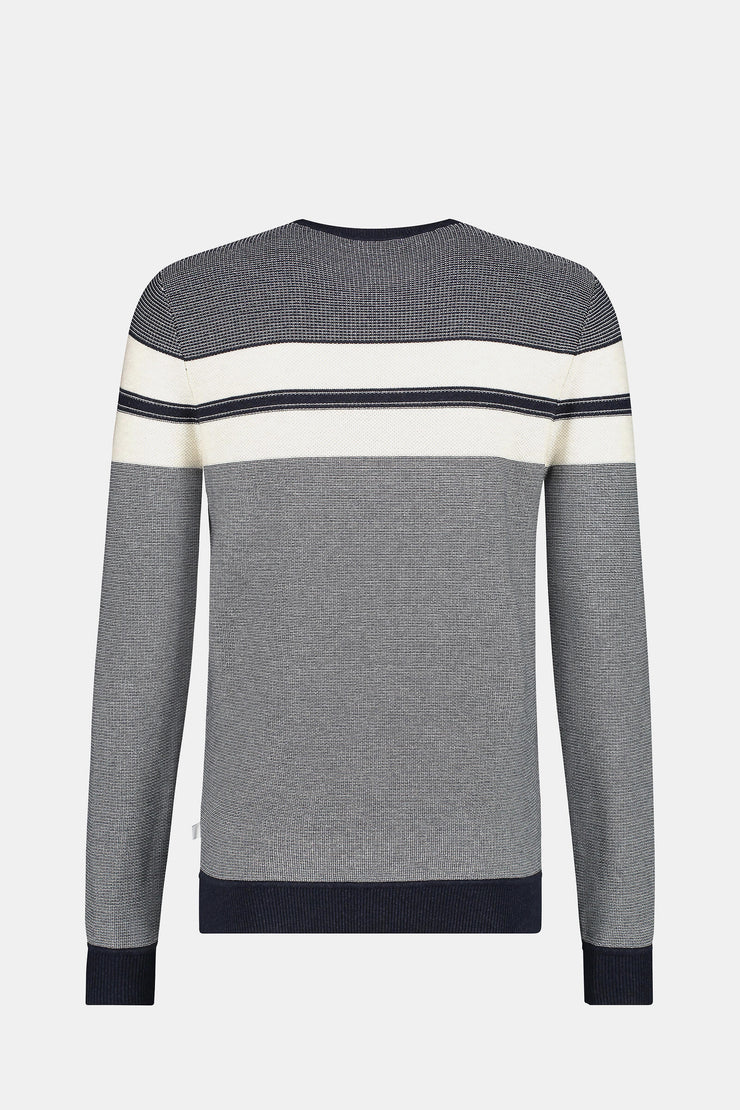 Colorblock structured crew neck sweater