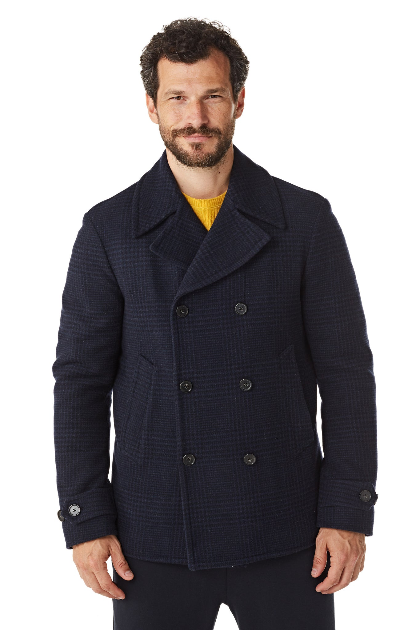 Double breasted peacoat overjas in wolblend