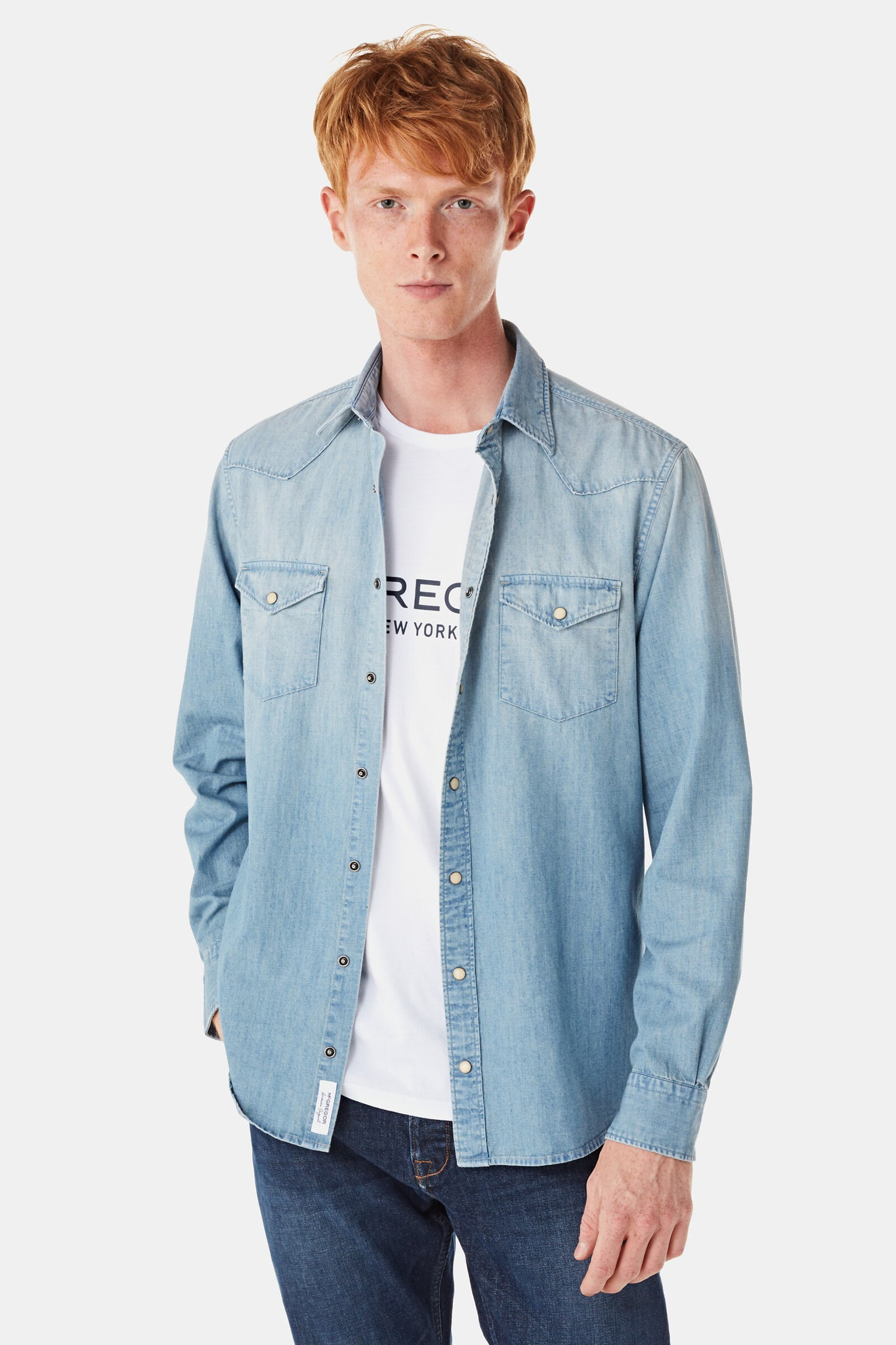 Regular fit light denim overhemd