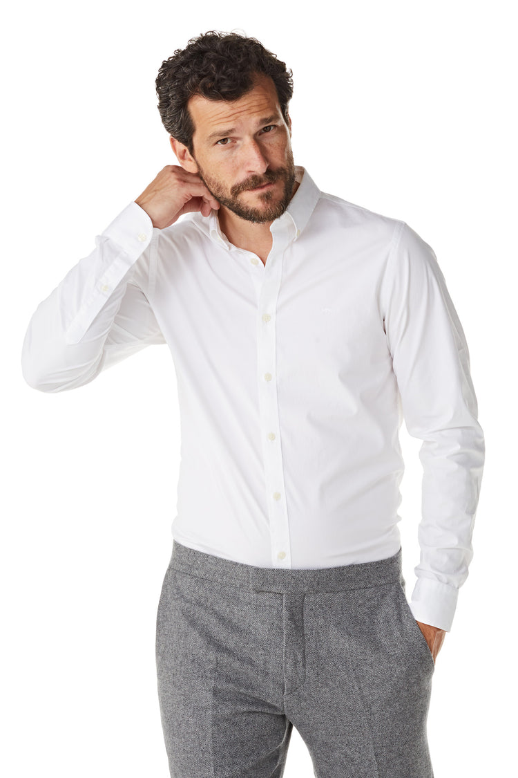 Slim fit overhemd van poplin met stretch