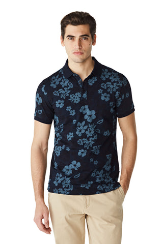 McG Slim fit polo met indigo bloemenprint