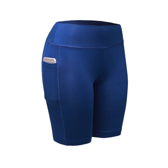 Blue Compression Fitness Shorts