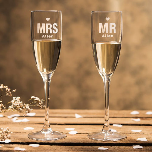 2 Personalised Mr & Mrs Champagne Flutes (Choose Your Own Design)