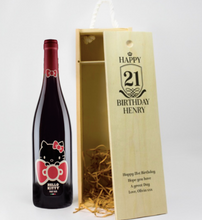 Load image into Gallery viewer, 1 Bottle Personalised Wine Box - Any Occasion & Year (Choose Your Own Design)