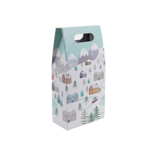 2 Bottle Gift Box with a Snowy Scene