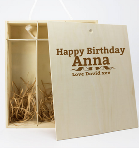 Personalised Wooden Box & Torti Barbera DOC OP Red Wine 3 Bottles