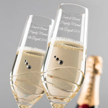 Load image into Gallery viewer, Personalise your 2 Glasses Engraved Set Swarovski® Crystal Champagne Flutes - Swirls