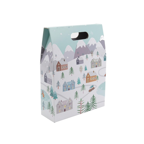 3 Bottle Gift Box with a Snowy Scene
