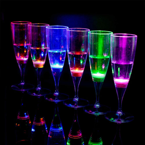 LED Champagne Flutes - Set of 6