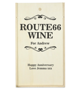 Personalised 2 Bottle Route66 Wooden Wine Box (Choose Your Own Design)