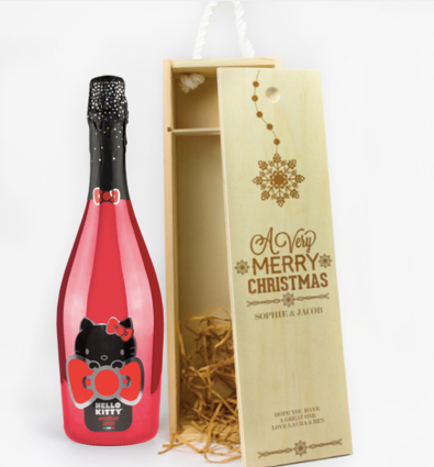 1 Bottle Personalised Christmas Wooden Wine Box
