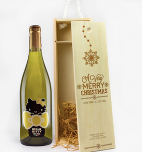 1 Bottle Personalised Christmas Wooden Wine Box (Choose Your Own Design)