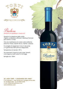 "Torti Barbera ""Torti Selection"" Aged in Barrique IGT"