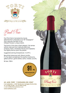Wooden TORTI Branded Gift Box & 6 Bottles Torti Pinot Noir Red Wine - 91 pts