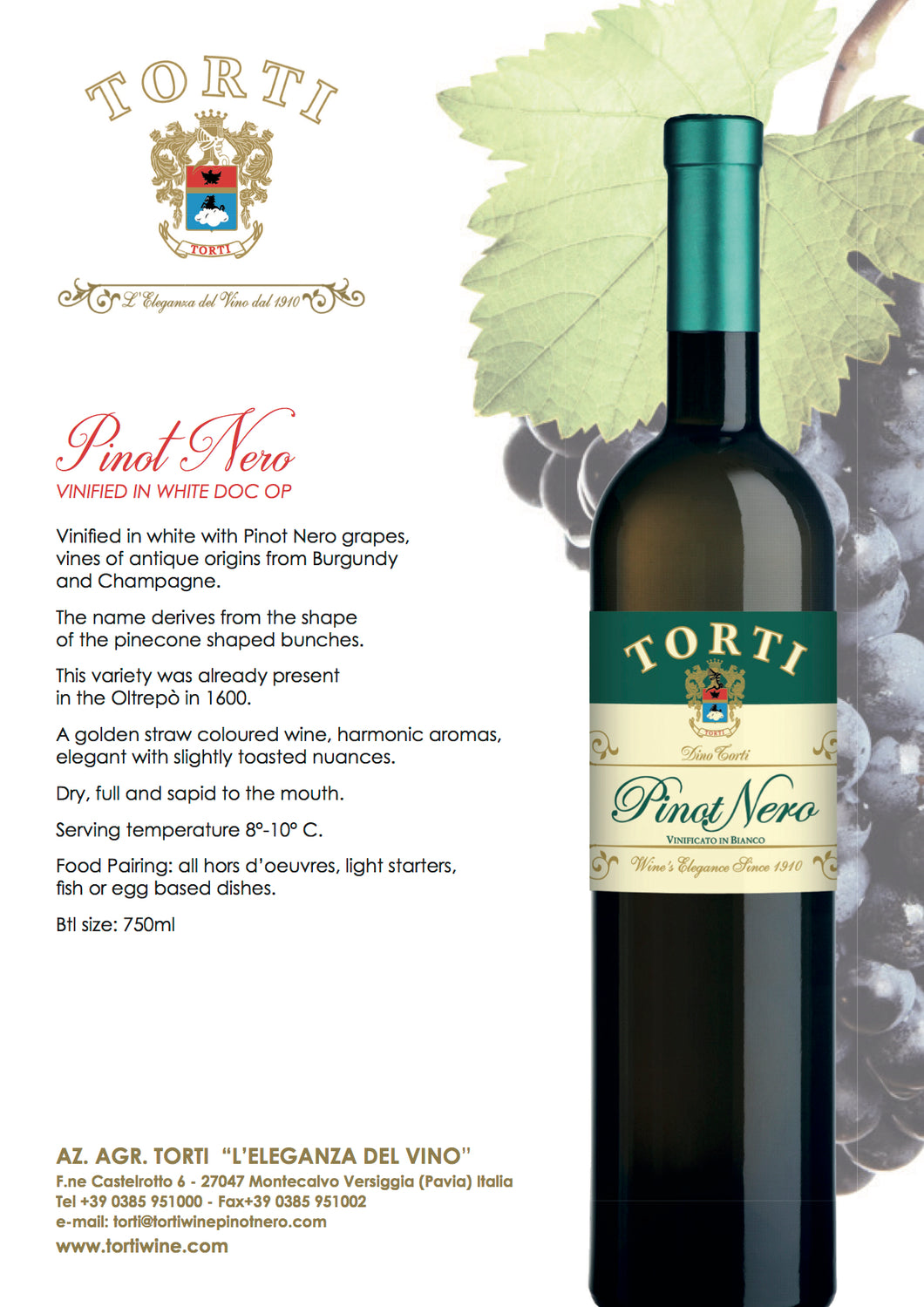 Torti Pinot Nero Vinified in White DOC OP