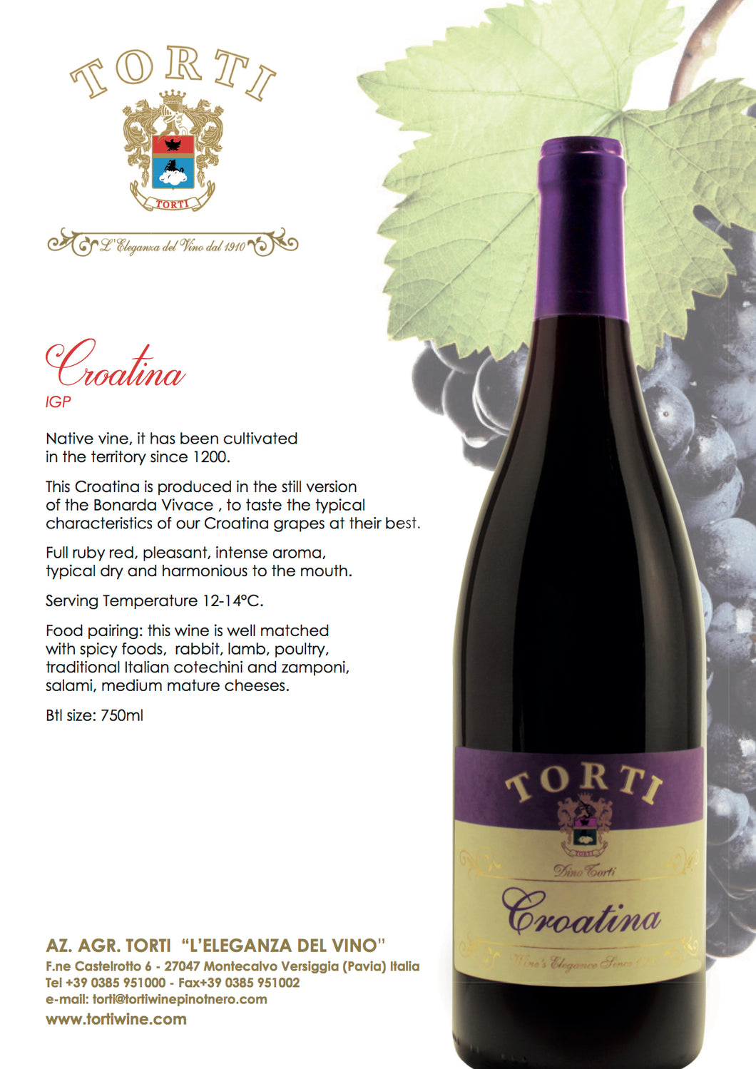 Torti Croatina IGT Ruby Red Wine