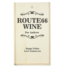 Load image into Gallery viewer, Personalised 2 Bottle Route66 Wooden Wine Box (Choose Your Own Design)