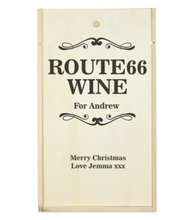 Load image into Gallery viewer, Personalised 2 Bottle ROUTE 66 Wooden Wine Box (Choose Your Own Design)