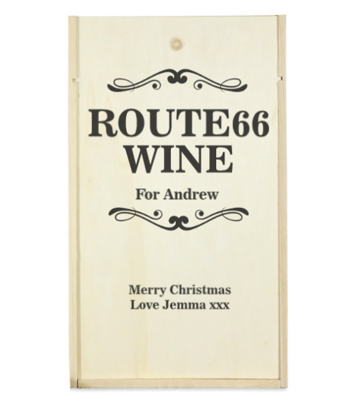 Personalised 2 Bottle ROUTE 66 Wooden Wine Box (Choose Your Own Design)