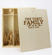 Load image into Gallery viewer, Personalised Wooden Box & Torti Barbera DOC OP Red Wine 3 Bottles
